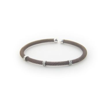 .925 Sterling Silver Diamond Bangle Mesh Bracelet dipped in Chocolate Gold ( 0.10 cttw)