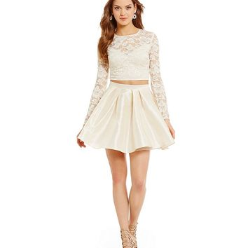 B. Darlin Long Sleeve Lace Top Two-Piece Dress | Dillards