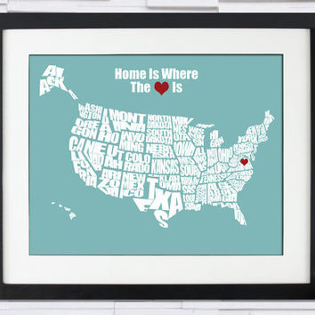 Wedding Anniversary Gifts Online Usa : ... Heart IsUSA Word Map8x10Perfect Wedding or Anniversary Gift