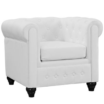 Chesterfield Vinyl Armchair in White