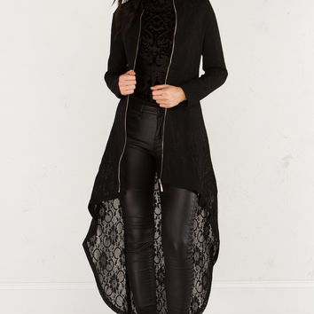 AKIRA Sheer Lace Zippered Bomber Jacket with High Low Hem in Black
