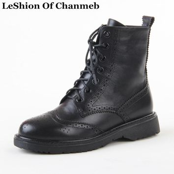real leather brogues shoes women cut out flowers lace up dr martins boots woman riding motorcycle boots black d. marten booties
