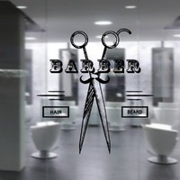 Wall Decal Vinyl Sticker Art Decor Hairdressing Hair Salon Style Beauty Barber Shop Cuts Beard Inscription Shaver Scissors Signboard (M1498)