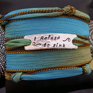"SALE D2E ""I Refuse To Sink"" silk ribbon yoga wrap bracelet with magnetic clasp adjustable  ready to ship"