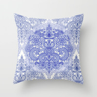 Happy Place Doodle in Cornflower Blue, White & Grey Throw Pillow by micklyn | Society6