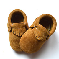 Toast Suede Baby Moccasins, Classic Moccasins