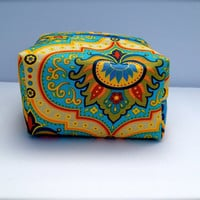 yellow and blue colorful travel case, Jewelry Bag, makeup bag, or Travel Toiletry Case
