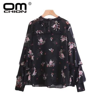 New Spring Autumn Shirts Floral Printed Ruffles Sexy Women Tops O Neck Flare Sleeve Chiffon Blouse
