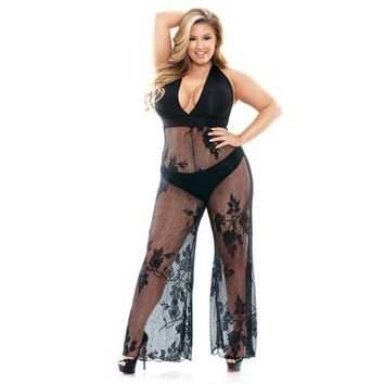 Curve Nicki Stretch Micro & Lace Halter Jumpsuit With Panty - Plus Size 1x/2x