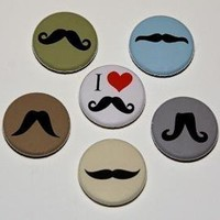 Mustaches Set of 6 Buttons Pins by theangryrobot