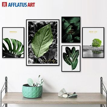 Green Monstera Tree Big Leaves Landscape Wall Art Canvas Painting Nordic Posters And Prints Wall Pictures For Living Room Decor