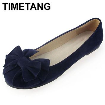 TIMETANG spring summer bow women single shoes flat heel soft bottom ballet work flats shoes woman
