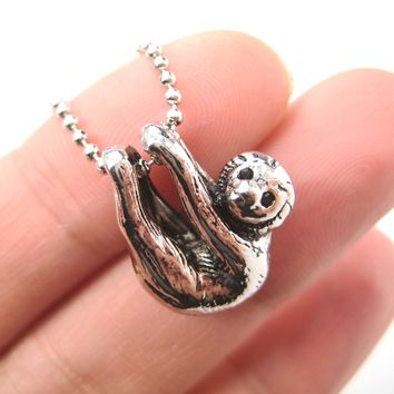 Sloth Baby Animal Pendant Necklace Realistic and Cute in Shiny Silver