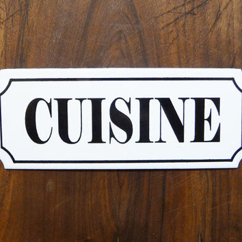 Kitchen french enameled plaque, antique sign, parisian atmosphere, french retro home decor