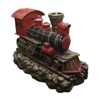 """38"""" LED Lighted Red and Black Vintage Locomotive Train Spring Outdoor Garden Water Fountain"""