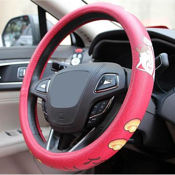 High End Micro Fiber Leather Lucky Cat Steering Wheel Cover