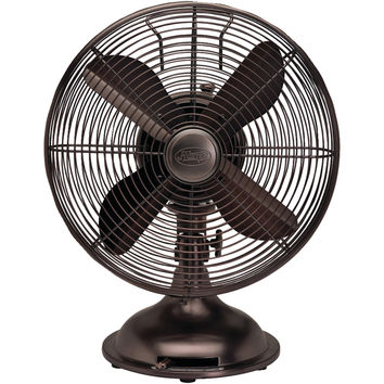 "HUNTER 90406 12"" Retro Personal Table Fan with Oil-Rubbed Bronze Finish"