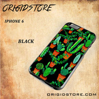 Cactus Black Pattern For Iphone 6 Case - Gift Present Multiple Choice