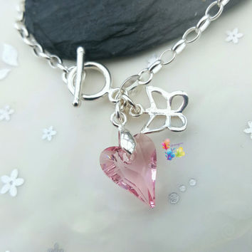 Charm Bracelet, Rose Pink Heart & Butterfly, toggle clasp