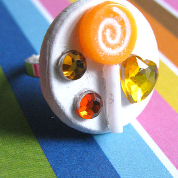 Orange Lollipop Candy Ring by LDesigns02 on Etsy