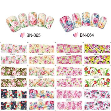 12pcs/lot Water Nail Art Sticker Full Cover Pink Rose Flowers Nail Transfer Decal Set BN061-072 Manicure DIY Tools JIBN061-072
