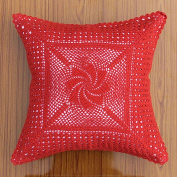 Crochet square THROW PILLOW - Handmade CUSHION Cover - Oroshi Design- Cotton - Premium Home Decor