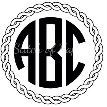 Rope Border Monogram Decal