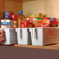 Kitchen Cabinet Shelf Pantry Cupboard Tamer Storage Basket with Handle - Walmart.com