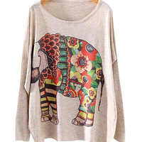 Nude Elephant Print Sweater