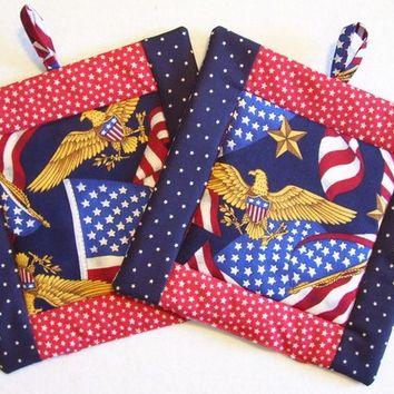 Patriotic Red, White, Blue - Insulated Pot Holders - Set of 2 - American Eagle, American Flag, Stars