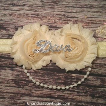 Vintage Cream Rhinestone Diva Headband! With or Without Pearls.