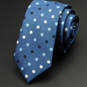 Sky Blue Skinny Tie with Light Blue Black and White Polka Dots