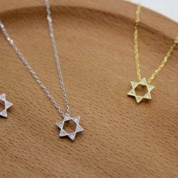 925 Sterling Silver Star Necklaces Pendants For Women Zircon CZ Diamond Necklace Sterling Silver Jewelry collier femme D2767-0413