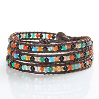 Colorful Agate Beads Wrap Bracelet