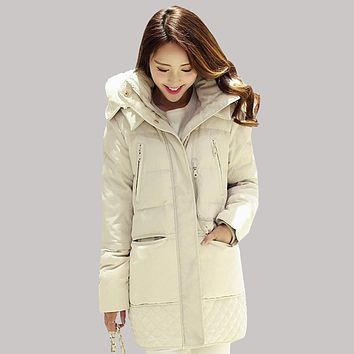 2017 Women Winter Jacket Fitted Military Warm Jackets Female Large Size Thick Long Duck Down Coat Slim Fashion Parkas L0004