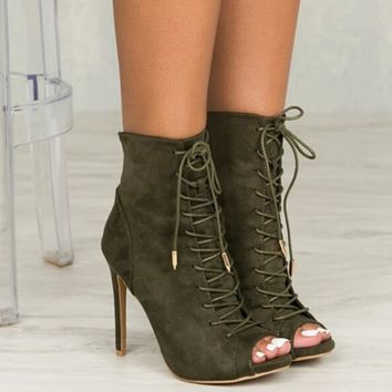 Open Toe Lace Up Pumps Shoes High Heels Woman Boots Sandals Booties