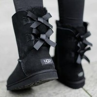 ugg bow leather boots boots in tube-1