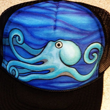 Octopus handpainted trucker hat
