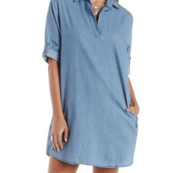 Chambray Collared Denim Chambray Shift Dress by Charlotte Russe