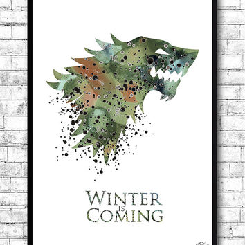 House Stark 2 Watercolor Print Game Of Thrones art Watercolor Print Wall Hanging Giclee wall print Movie poster Watercolor Art Home Decor