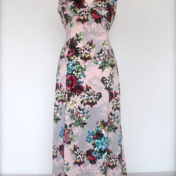 Vintage inspired evening dress wth floral print, long 1930's dinner dress, retro maxi dress
