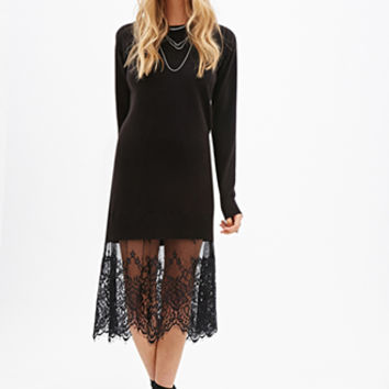 FOREVER 21 Eyelash Lace Sweater Dress