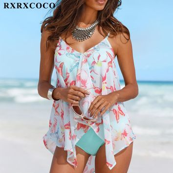 RXRXCOCO Big Size Swimsuit Women Bandage Tankini with Cover Up Sexy Backless Swimwear Female Push Up Bathing Suit Beachwear