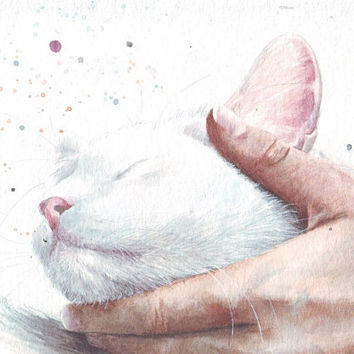 HM101 Original  painting watercolor painting White Cat by Helga McLeod
