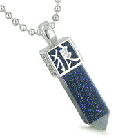 Amulet Reversible Wolf Paw Kanji Magic Blue Goldstone Crystal Point Pendant 18 Inch Necklace
