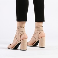 Harper Lace up Heeled Sandals in Nude Faux Suede