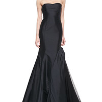 Women's Strapless Trumpet Gown with Side Tulle Inset - ML Monique Lhuillier - Black (4)