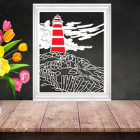 Lighthouse Papercut, Paper Cutting Art, Nautical Art, Maritime Decor, Beach Wedding Gift, Coastal Decor,  Nautical Nursery, Light House Art