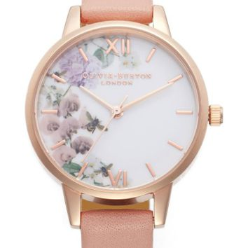 Olivia Burton Floral Leather Strap Watch, 30mm | Nordstrom
