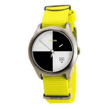 Nixon A3441262 Men's The Quad Black & White Dial Neon Yellow Nylon Strap Watch